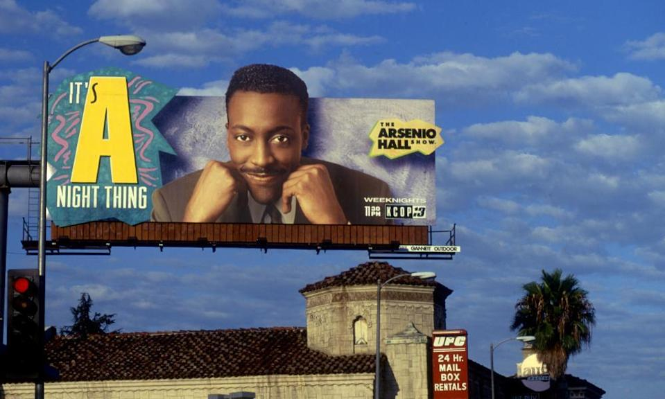 King of LA … a billboard for Hall's show on Sunset Boulevard, circa 1990.