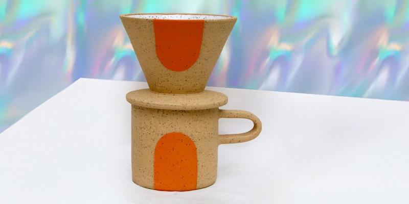 "Tiny kitchens can't afford a ""coffee corner,"" but any size kitchen can use a portable pour-over dripper. Our vote is for this design-forward ceramic one that can top a range of coffee mugs and up your countertop game when not in use. SHOP NOW: Pourover ceramic by Mimi Ceramics, $48, mimiceramics.com"