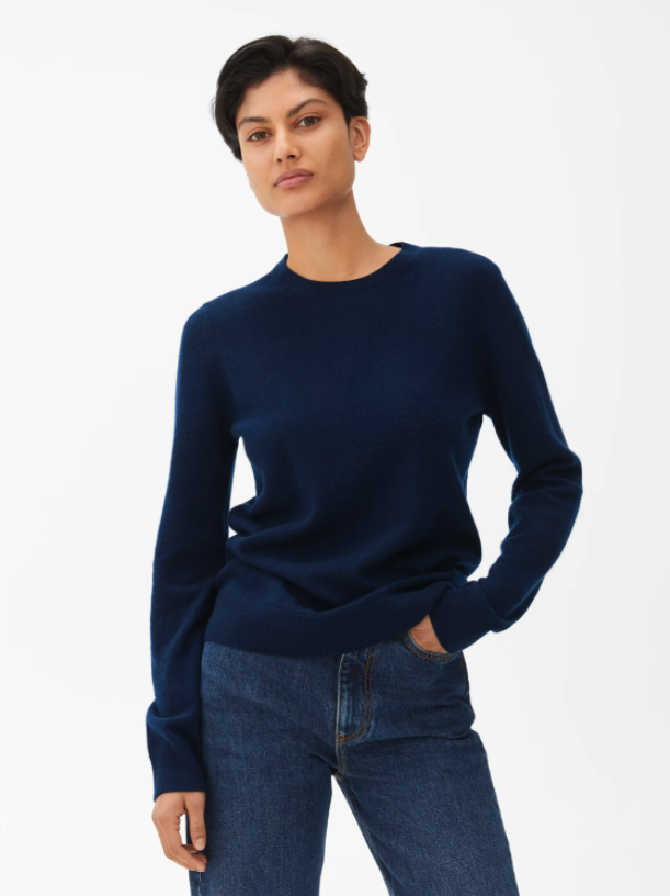 "<br><br><strong>Arket</strong> Cashmere Crew-Neck Jumper, $, available at <a href=""https://www.arket.com/en_gbp/women/knitwear/product.cashmere-crew-neck-jumper-blue.0711822007.html"" rel=""nofollow noopener"" target=""_blank"" data-ylk=""slk:Arket"" class=""link rapid-noclick-resp"">Arket</a>"