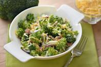 """<p><a href=""""https://www.thedailymeal.com/cook/broccoli-cheese-recipes-casseroles-soups-eggs?referrer=yahoo&category=beauty_food&include_utm=1&utm_medium=referral&utm_source=yahoo&utm_campaign=feed"""" rel=""""nofollow noopener"""" target=""""_blank"""" data-ylk=""""slk:Broccoli, bacon and cheese is an iconic combination"""" class=""""link rapid-noclick-resp"""">Broccoli, bacon and cheese is an iconic combination</a>, and this vintage-inspired mayo-dressed salad uses all three for a crunchy, salty, creamy revelation.</p> <p><a href=""""https://www.thedailymeal.com/recipes/broccoli-and-bacon-salad-recipe-0?referrer=yahoo&category=beauty_food&include_utm=1&utm_medium=referral&utm_source=yahoo&utm_campaign=feed"""" rel=""""nofollow noopener"""" target=""""_blank"""" data-ylk=""""slk:For the Broccoli and Bacon Salad recipe, click here."""" class=""""link rapid-noclick-resp"""">For the Broccoli and Bacon Salad recipe, click here.</a></p>"""