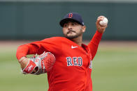 Boston Red Sox pitcher Martin Perez delivers in the second inning of a spring training baseball game against the Atlanta Braves Saturday, March 20, 2021, in North Port, Fla. (AP Photo/John Bazemore)
