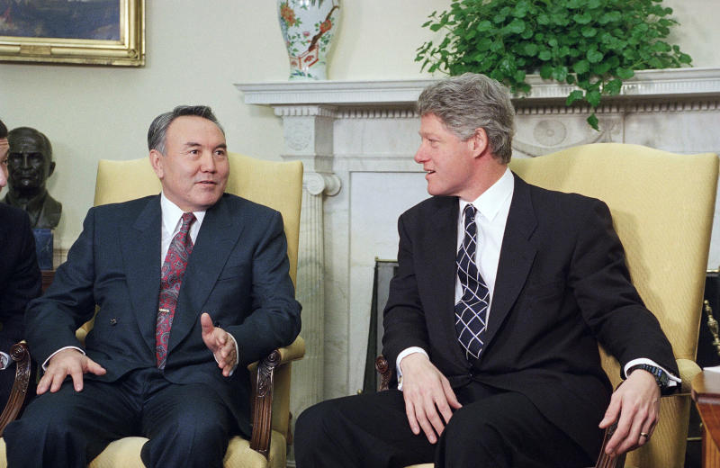 FILE - In this Feb. 14, 1994, file photo, President Bill Clinton meets with President Nursultan Nazarbayev of Kazakhstan in the Oval Office of the White House in Washington. Nazarbayev, the only leader that independent Kazakhstan has ever known, abruptly announced his resignation Tuesday, March 19, 2019, after three decades in power. (AP Photo/Marcy Nighswander, File)