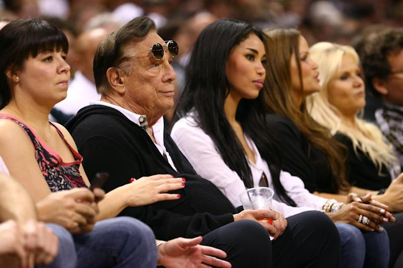 FILE - APRIL 26, 2014: It was reported that Los Angeles Clippers owner Donald Sterling is being investigated by the National Basketball Association for making racist remarks to his girlfriend April 26, 2014. SAN ANTONIO, TX - MAY 19: (2nd L) Team owner Donald Sterling of the Los Angeles Clippers watches the San Antonio Spurs play against the Memphis Grizzlies during Game One of the Western Conference Finals of the 2013 NBA Playoffs at AT&T Center on May 19, 2013 in San Antonio, Texas. (Photo by Ronald Martinez/Getty Images)