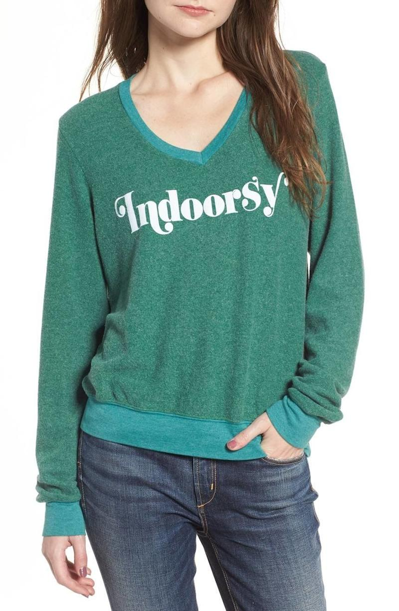"<i>Buy it from <a href=""https://shop.nordstrom.com/s/wildfox-indoorsy-sweatshirt/4785570?origin=category-personalizedsort&fashioncolor=WOOD%20FALL%20GREEN"" target=""_blank"">Nordstrom</a> for $98.</i>"