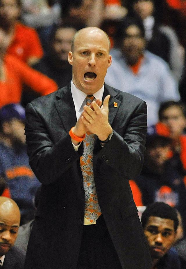 Illinois head coach John Groce yells while on the sideline during the first half of an NCAA college basketball game in Evanston, Ill., on Sunday, Jan. 12, 2014. (AP Photo/Matt Marton)