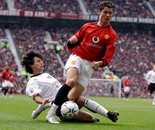 Looking at the superman he is today, it's a little hard to remember that when Cristiano Ronaldo first burst onto the EPL scene way back in 2003, he was a skinny, pimply youth who looked like his momma had emptied a bowl of spaghetti on his head. Ahhh...the folly (or is follicles?) of youth...