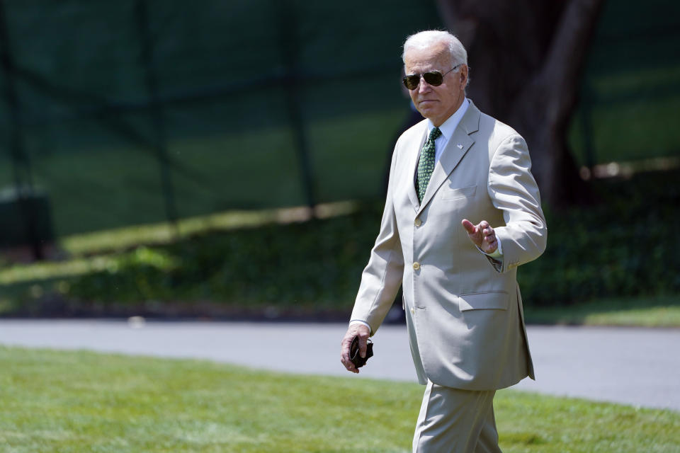President Joe Biden waves as he walks to Marine One on the South Lawn of the White House in Washington, Friday, Aug. 6, 2021, as he heads to Wilmington, Del., for the weekend. (AP Photo/Susan Walsh)
