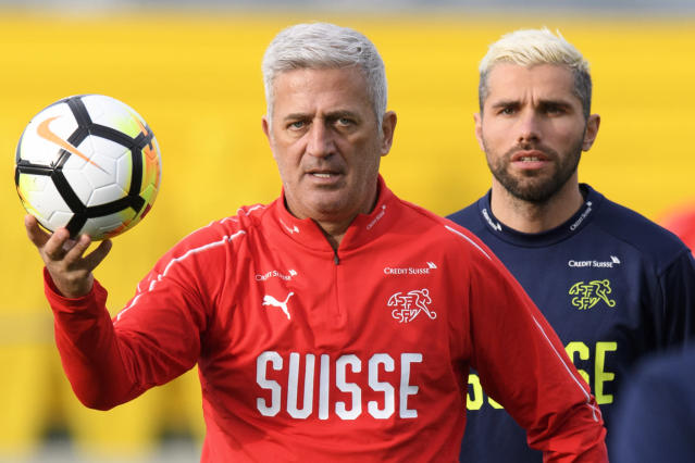 Swiss national team head coach Vladimir Petkovic, left, and player Valon Behrami attend a training session at the AEK FC Training Center, in Athens, Greece, Wednesday, March 21, 2018. Switzerland will face Greece in Athens on March 23, 2018 for an International friendly soccer match. (Laurent Gillieron/Keystone via AP)