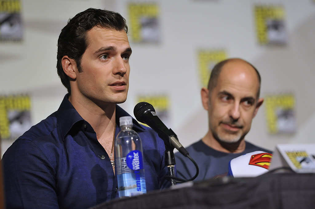 "Henry Cavill, left, and Stanley Tucci attend the ""Superman"" 75th Anniversary panel on Day 4 of the Comic-Con International on Saturday, July 20, 2013 in San Diego. (Photo by Chris Pizzello/Invision/AP)"
