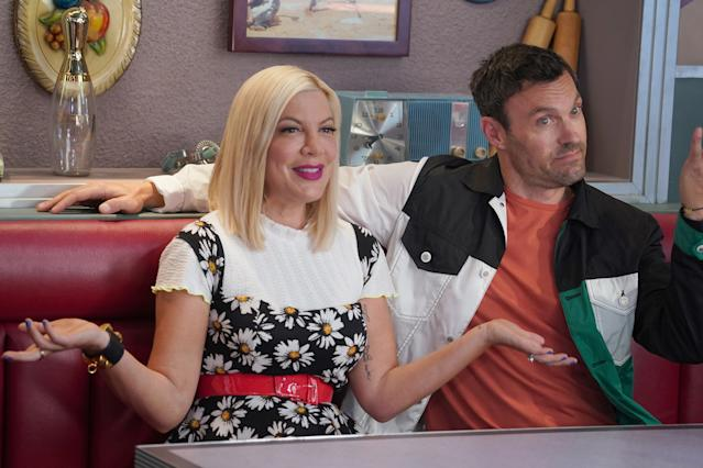 """BH90210: L-R: Tori Spelling and Brian Austin Green in the BH90210 """"Reunion"""" series premiere episode airing Wednesday, Aug. 7 (9:00-10:00 PM ET/PT) on FOX. (Photo by FOX via Getty Images)"""
