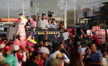 Venezuela's President Nicolas Maduro attends an event with supporters in Barcelona, Venezuela April 7, 2017. Miraflores Palace/Handout via REUTERS