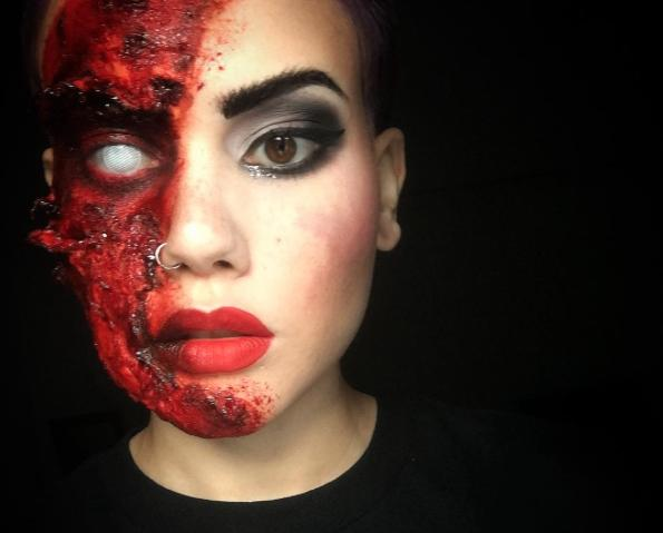 This makeup artist made a VERY realistic and terrifying mask for Halloween, and we're in awe