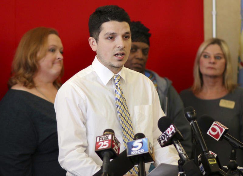 "FILE - In this Thursday, March 8, 2018 file photo Alberto Morejon, Stillwater teacher and administrator of the Facebook group ""Oklahoma Teacher Walkout- The Time is Now,"" speaks during a media conference at the Oklahoma Education Association in Oklahoma City. (Doug Hoke/The Oklahoman via AP, File)"