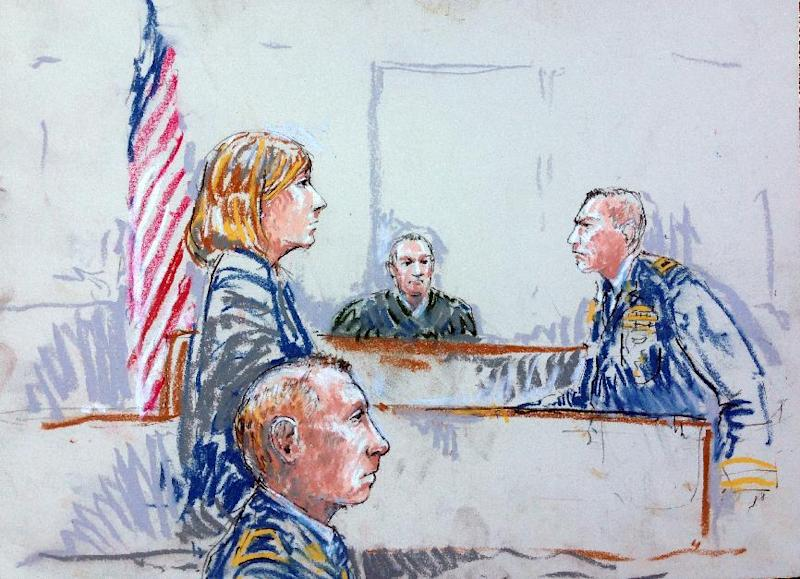 CORRECTS SPELLING OF ARTIST'S LAST NAME TO MILLETT INSTEAD OF MILLET - In this courtroom sketch, Staff Sgt. Robert Bales, foreground, is seated in a courtroom at Joint Base Lewis-McChord, Wash. on Tuesday, Aug. 20, 2013, during a sentencing hearing in the slayings of 16 civilians killed during pre-dawn raids on two villages on March 11, 2012. Haji Mohammad Naim, an Afghan farmer shot during a massacre in Kandahar Province last year, took the witness stand Tuesday against Bales, who attacked his village, cursing him before breaking down and pleading with the prosecutor not to ask him any more questions. Also shown are, from left, defense attorney Emma Scanlan, Judge Col. Jeffery Nance, and prosecutor Lt. Col. Jay Morse. (AP Photo/Peter Millett)