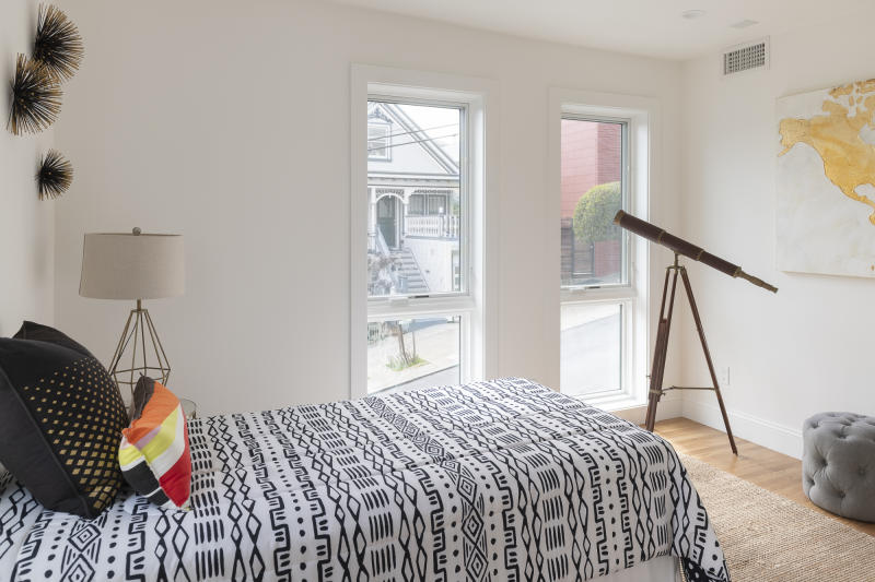 One of two bedrooms in the two-bedroom converted ADU at 201 Roanoke St. Source: Mark Hogan/Open Scope Studio