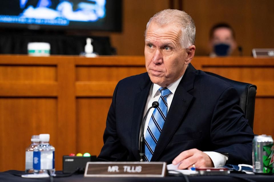 """Sen. Thom Tillis (R-N.C.) said he """"believes a bipartisan compromise should include extended unemployment benefits at a level that provides much-needed relief without inadvertently providing some with more federal benefits than they earned at their previous employer."""" (Anna Moneymaker/The New York Times via AP, Pool)"""