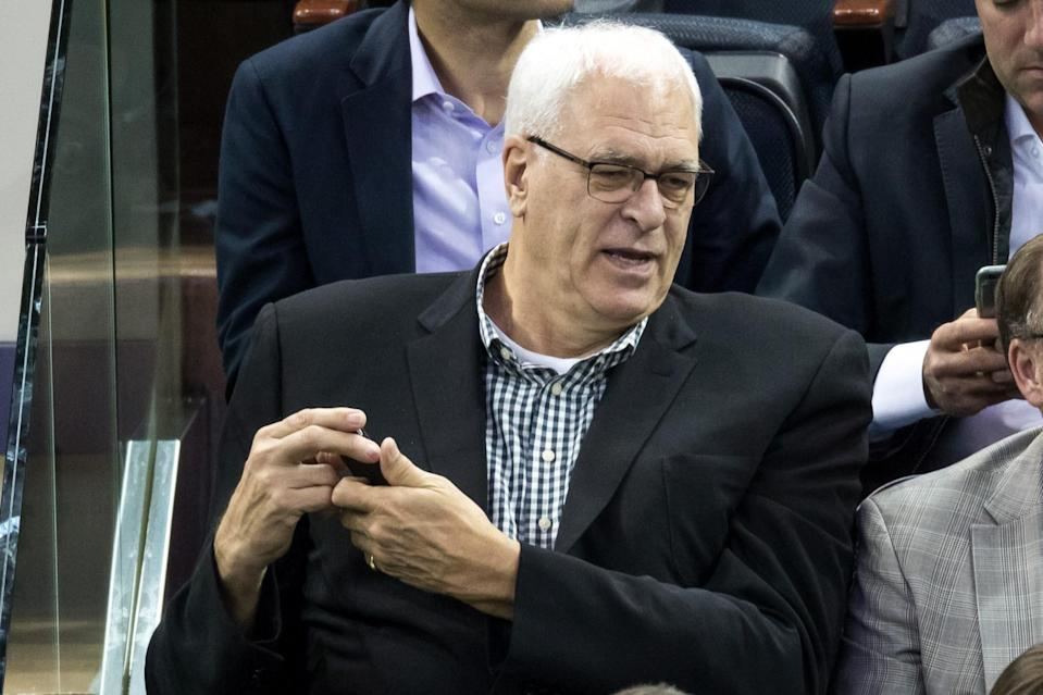 Knicks president Phil Jackson confirmed he was looking at trade options for Kristaps Porzingis. (AP)