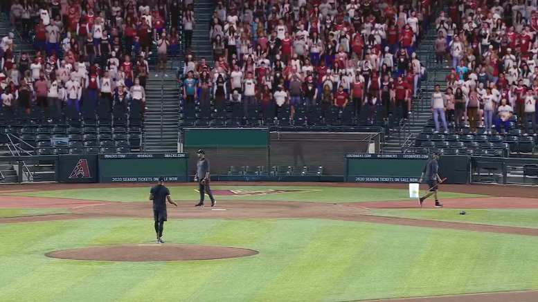 Fake fans in the stands of a real MLB ballpark