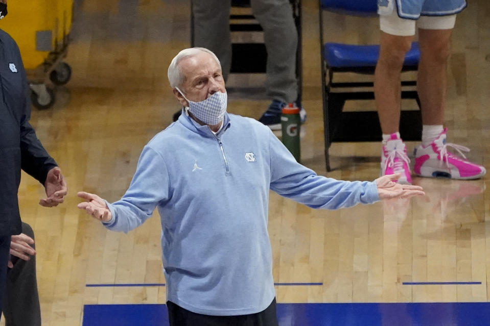 North Carolina head coach Roy Williams as his team plays against Pittsburgh during an NCAA college basketball game, Tuesday, Jan. 26, 2021, in Pittsburgh. (AP Photo/Keith Srakocic)