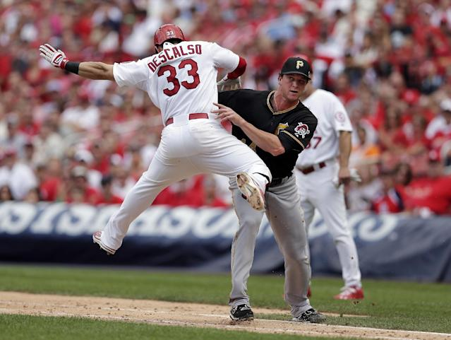 St. Louis Cardinals' Daniel Descalso (33) is tagged out along the first baseline by Pittsburgh Pirates relief pitcher Tony Watson in the seventh inning of Game 2 of baseball's National League division series on Friday, Oct. 4, 2013, in St. Louis. (AP Photo/Charlie Riedel)