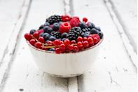 """<p>Just a cup of <a href=""""https://www.goodhousekeeping.com/health/diet-nutrition/a20916472/blueberries-nutrition/"""" rel=""""nofollow noopener"""" target=""""_blank"""" data-ylk=""""slk:blueberries"""" class=""""link rapid-noclick-resp"""">blueberries</a> can pack up to 9 grams of fiber and 50% of your vitamin C needs for just 60 calories. The antioxidants found in berries (including raspberries, blackberries, and strawberries) also have cell-protecting properties.Eating more of these foods can help protect your blood vessels from harmful plaque and have a circulation-boosting effect. If you're not as keen on berries, citrus fruit, apples, stone fruit, and melon are all great alternatives. They're filled with potassium to help balance blood pressure and mitigate bloat.</p>"""
