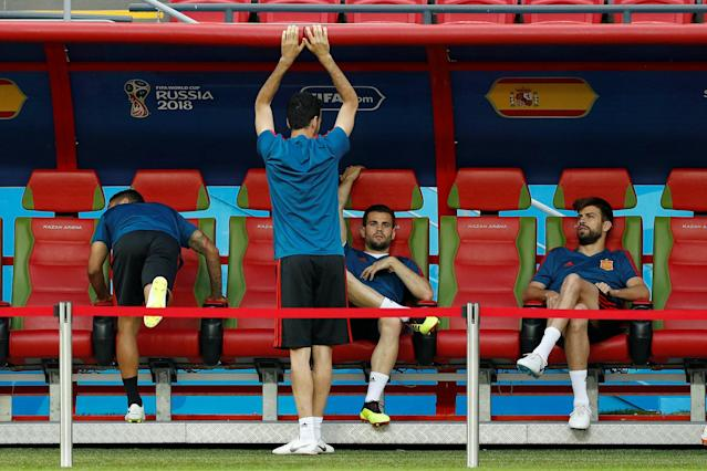 Soccer Football - World Cup - Spain Training - Kazan Arena, Kazan, Russia - June 19, 2018 Spain's Gerard Pique and Nacho during training REUTERS/John Sibley