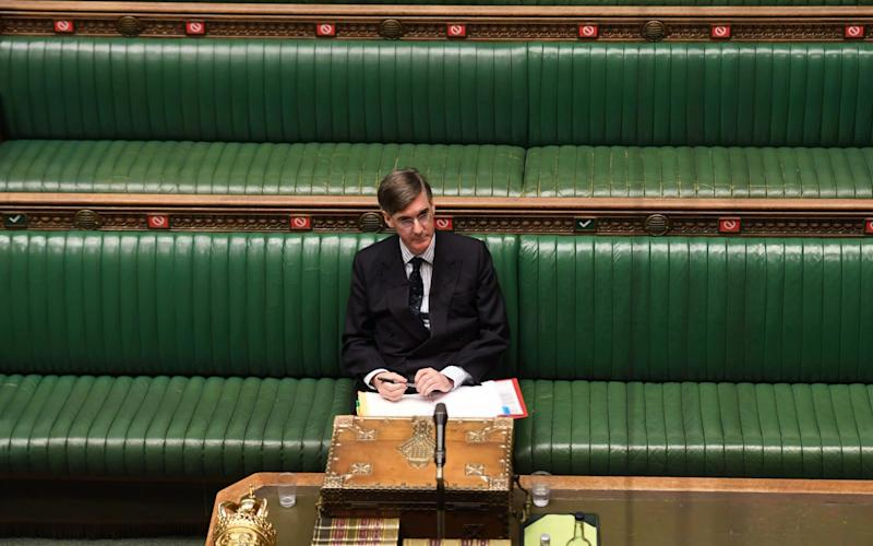 Jacob Rees-Mogg prepares to make a statement in the House of Commons last month - Jessica Taylor/AFP