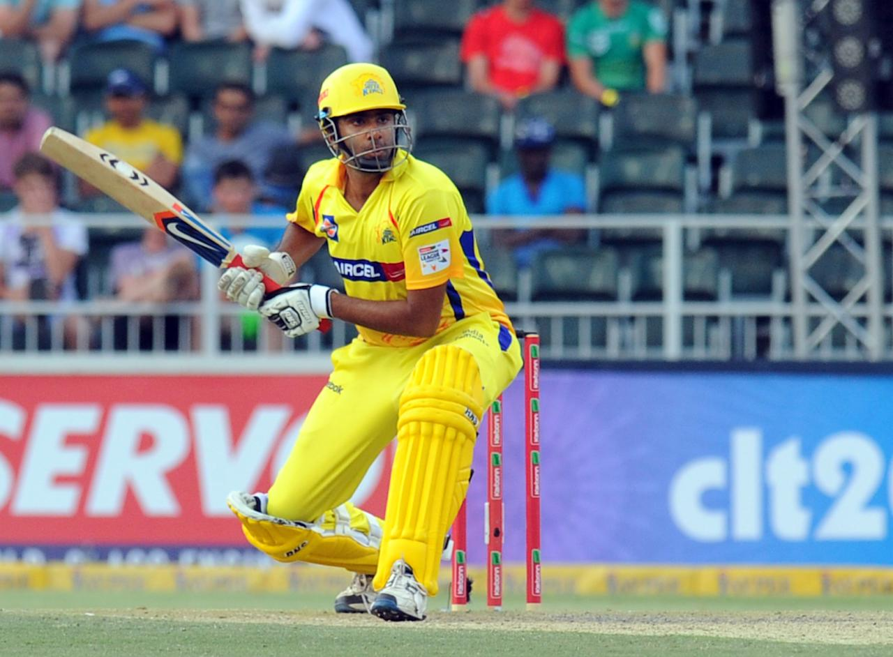 Chennai Super Kings batsman R Ashwin in action during a Group B match of The Champions League T20 (CLT20) against Sydney Sixers at Wanderers Stadium in Johannesburg on October 14, 2012.  AFP PHOTO / ALEXANDER JOE