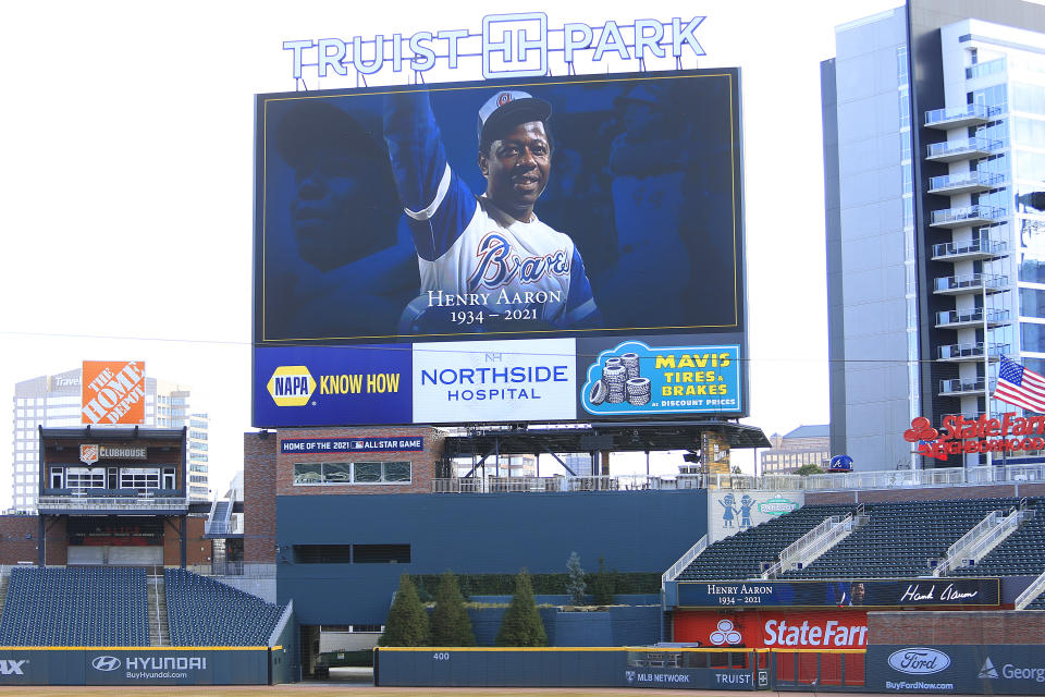 ATLANTA, GA - JANUARY 24: The center field scoreboard at Truist Park memorializes the late Hank Aaron on January 24, 2021 in Atlanta, Georgia. Aaron, a long time Brave,  passed away on January 22, 2021.(Photo by David John Griffin/Icon Sportswire via Getty Images)