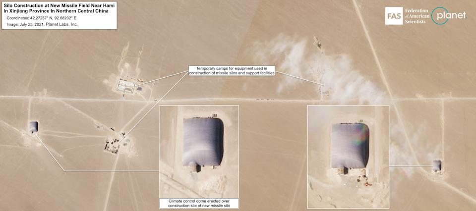 Satellite imagery shows the construction of silos on the Xinjiang site. Source: Planet/ Federation of American Scientists