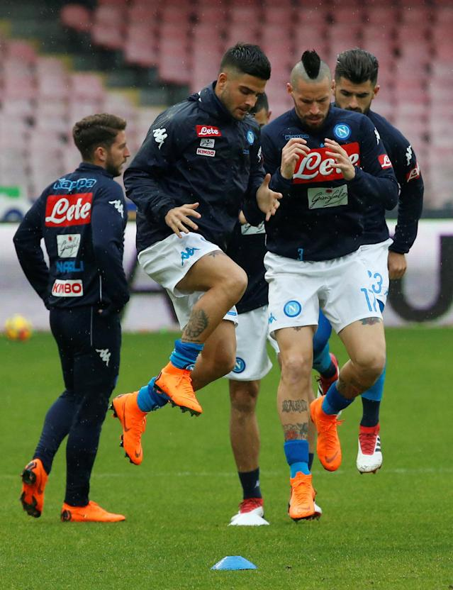 Soccer Football - Serie A - Napoli vs SPAL - Stadio San Paolo, Naples, Italy - February 18, 2018 Napoli's Lorenzo Insigne and Marek Hamsik during the warm up before the match REUTERS/Ciro De Luca