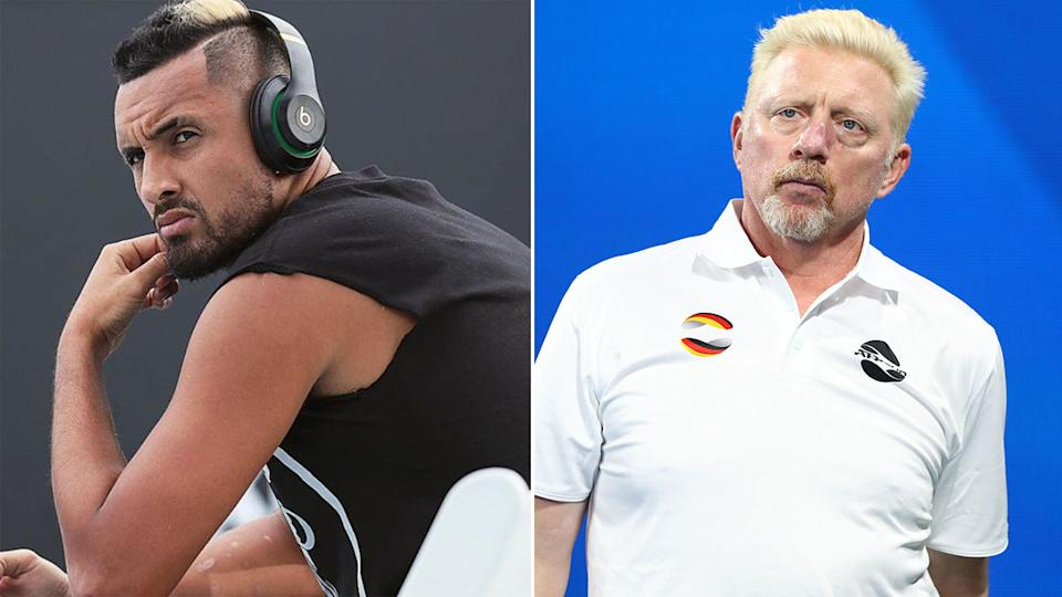 Pictured here, Nick Kyrgios and Boris Becker have engaged in a war or words on Twitter.