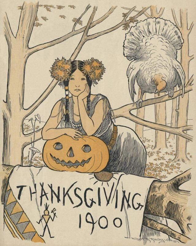 1900 — Native American woman with turkey and pumpkin, magazine cover illustration by Albert D. Blashfield 1900, Birds; Feminine; Thanksgiving; Trees; vintage images — Image by © Blue Lantern Studio/Corbis