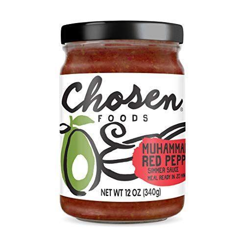 """<p><strong>Chosen Foods</strong></p><p>amazon.com</p><p><a href=""""https://www.amazon.com/dp/B07RVCV81H?tag=syn-yahoo-20&ascsubtag=%5Bartid%7C10055.g.32971830%5Bsrc%7Cyahoo-us"""" rel=""""nofollow noopener"""" target=""""_blank"""" data-ylk=""""slk:Shop Now"""" class=""""link rapid-noclick-resp"""">Shop Now</a></p><p>Chosen Foods is a top pick in the GH Nutrition Lab because of the quality and flavor of their products. Known for their avocado oil, Chosen Foods has expanded to include a line of simmer sauces. <strong>Their Muhammara Red Pepper Simmer Sauce brings Middle Eastern cuisine straight to your kitchen, and the nutrition facts are pretty incredible. </strong>A 1/4 cup serving of the sauce contains only 70 calories, no added sugar, and 340mg sodium which is decent for a simmer sauce. The ingredients are also quite impressive, and they use pomegranate juice for a hint of natural sweetness.</p>"""