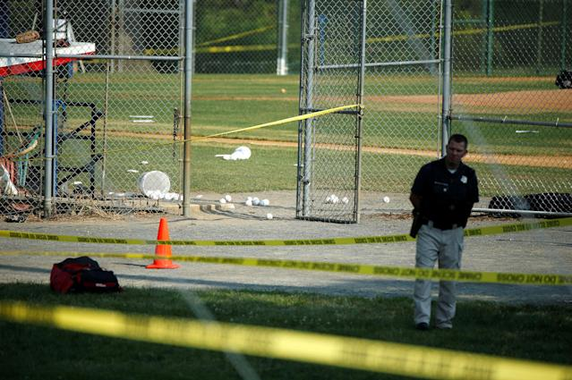 <p>A police officer mans a shooting scene after a gunman opened fire on Republican members of Congress during a baseball practice near Washington in Alexandria, Virginia, June 14, 2017. (Photo: Joshua Roberts/Reuters) </p>