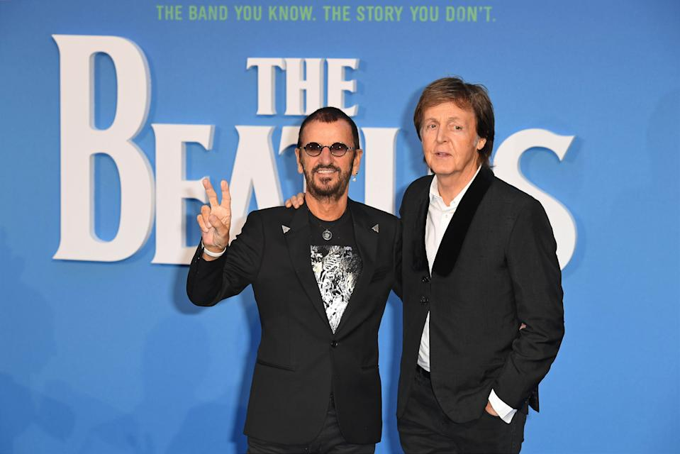 """Photo by: KGC-143/STAR MAX/IPx 9/15/16 Ringo Starr and Paul McCartney at the premiere of """"The Beatles: Eight Days A Week - The Touring Years"""". (London, England)"""