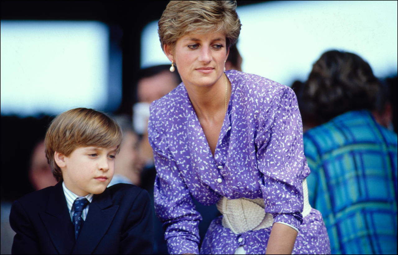 <p>Princess Diana brought Prince William along with her to a July 1991 Wimbledon game where the pair watched the match from the royal box. <em>[Photo: Rex]</em> </p>