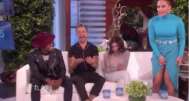 Lopez quickly moved to cover up her undergarments. (Photo: The Ellen Show)