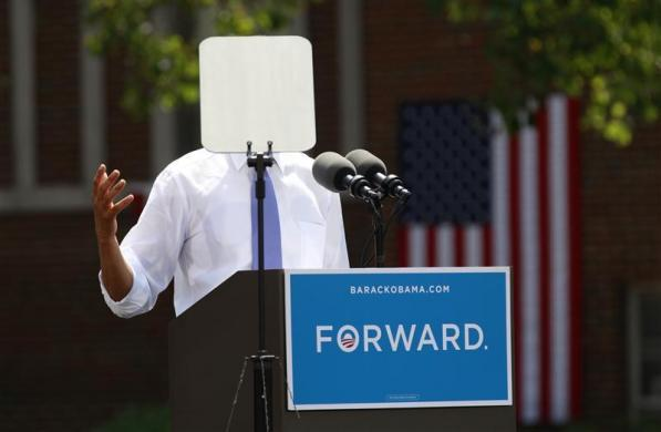 A teleprompter obscures President Obama as he speaks during a campaign event at Capital University in Columbus, Ohio, August 21, 2012.