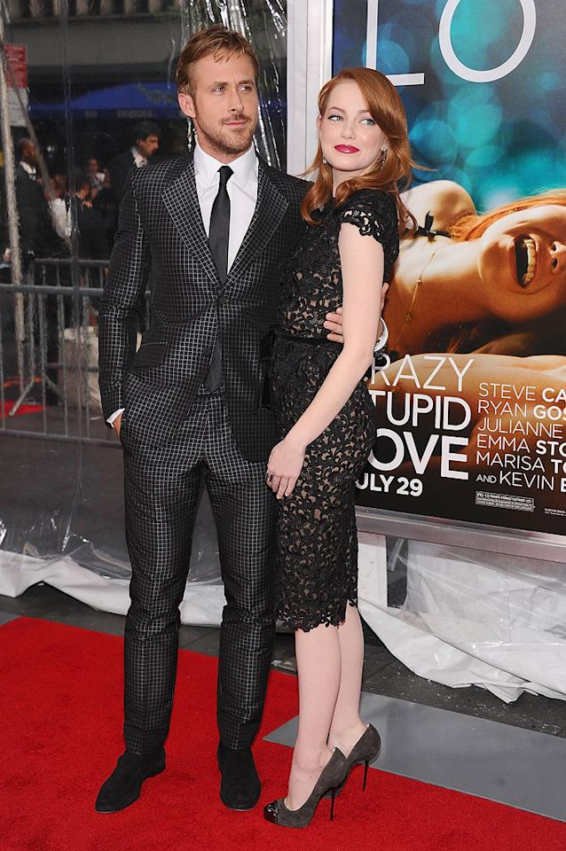 """<a href=""""http://movies.yahoo.com/movie/contributor/1804035474"""">Ryan Gosling</a> and <a href=""""http://movies.yahoo.com/movie/contributor/1809635883"""">Emma Stone</a> at the New York City premiere of <a href=""""http://movies.yahoo.com/movie/1810157025/info"""">Crazy, Stupid, Love</a> on July 19, 2011."""