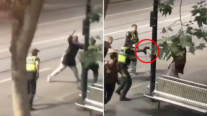 Police shoot a man lunging at them with a knife on Melbourne's Bourke Street. Source TwitterMore