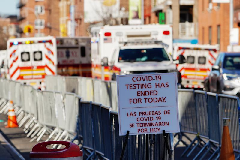 A view of a sign at Elmhurst Hospital Center in the Queens borough of New York City amid Covid-19(Coronavirus)on March 27, 2020 (Photo by John Nacion/NurPhoto via Getty Images)
