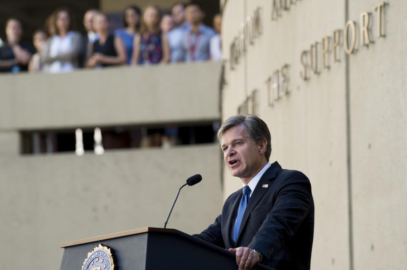 FBI Director Christopher Wray speaks during his swearing-in.  (SAUL LOEB via Getty Images)