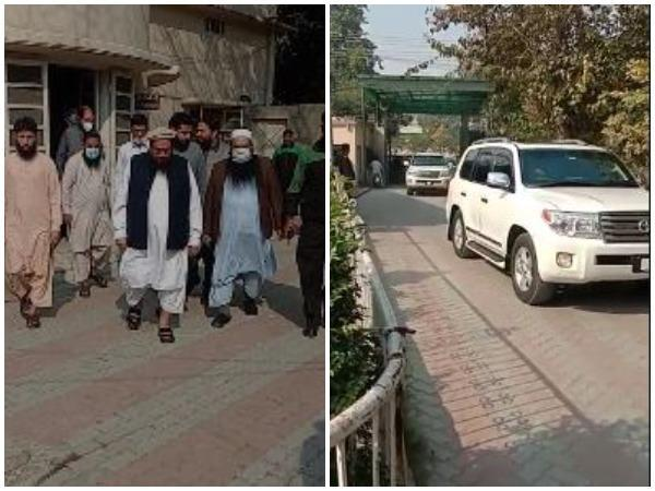 Hafiz Saeed seen roaming with his aides in SUV after an anti-terrorism court sentenced him for 10 year improsonment.