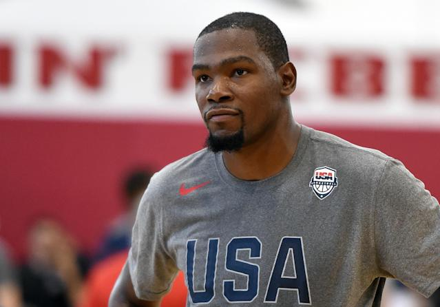 """<a class=""""link rapid-noclick-resp"""" href=""""/nba/players/4244/"""" data-ylk=""""slk:Kevin Durant"""">Kevin Durant</a> is back with Team USA after taking last summer off. (Getty Images)"""