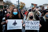 SENSITIVE MATERIAL. THIS IMAGE MAY OFFEND OR DISTURB People protest against the ruling by Poland's Constitutional Tribunal that imposes a near-total ban on abortion, in Warsaw, Poland October 26, 2020. REUTERS/Kacper Pempel