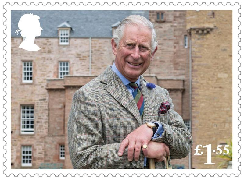 Prince Charles in a new stamp released for his 70th birthday.