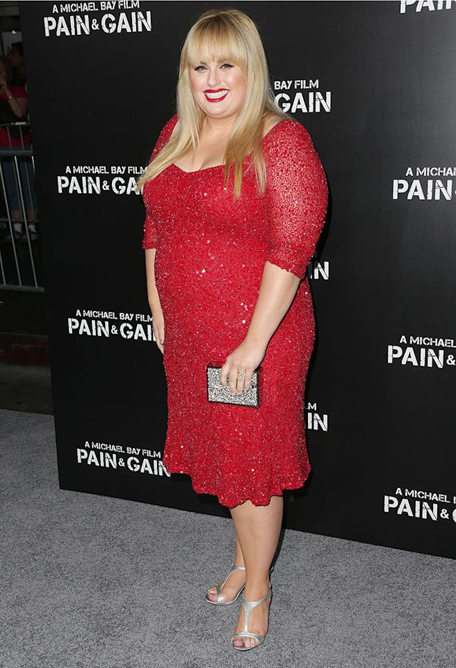 "HOLLYWOOD, CA - APRIL 22: Actress Rebel Wilson attends the premiere of Paramount Pictures' ""Pain & Gain"" at the TCL Chinese Theatre on April 22, 2013 in Hollywood, California.  (Photo by Frederick M. Brown/Getty Images)"