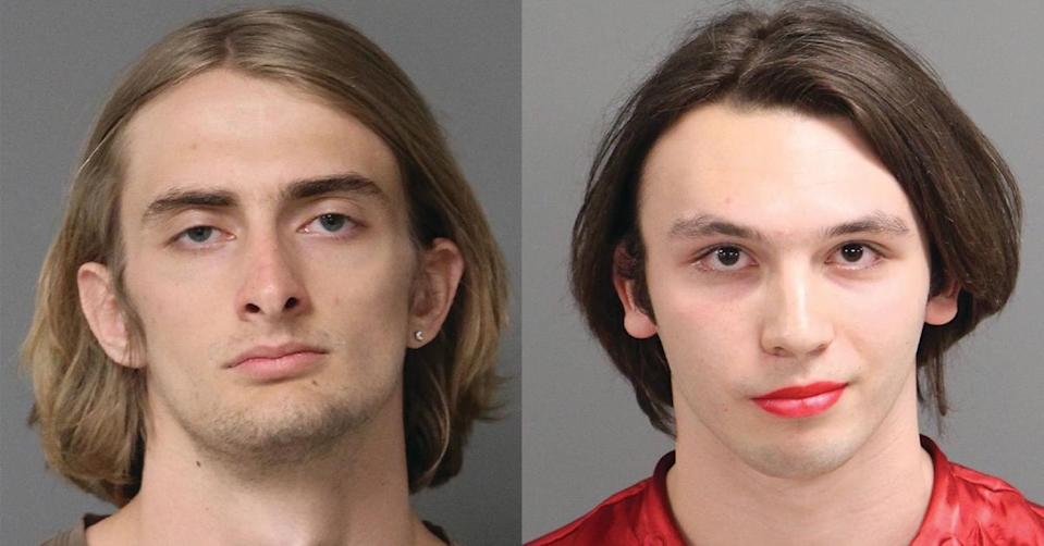Jody Michael Anderson, 22, and Enzo Moretti Niebuhr, 18, have been charged with disorderly conduct by abusive language and defacing a public building or statue for defacing the Monument to North Carolina Women of the Confederacy. (Photo: Courtesy of nc-mugshots.com)