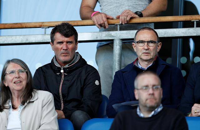 Soccer Football - UEFA European Under-17 Championship Quarter-Final - Netherlands vs Republic of Ireland - Proact Stadium, Chesterfield, Britain - May 14, 2018 Republic of Ireland manager Martin O'Neill and assistant manager Roy Keane in the stands Action Images via Reuters/Jason Cairnduff
